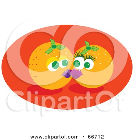 Royalty-Free (RF) Clipart Illustration of Two Smooching Oranges On An Orange Oval by Prawny