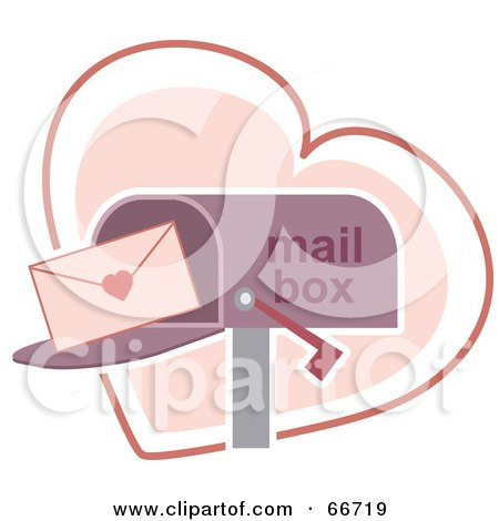 Royalty-Free (RF) Clipart Illustration of a Love Letter In A Purple Mail Box Over A Heart by Prawny