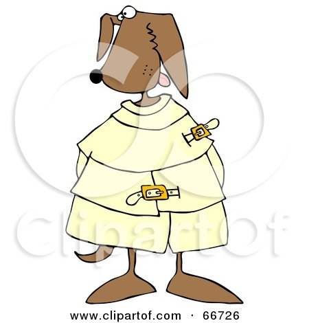 Royalty-Free (RF) Clipart Illustration of a Crazy Canine in a Straight Jacket by djart