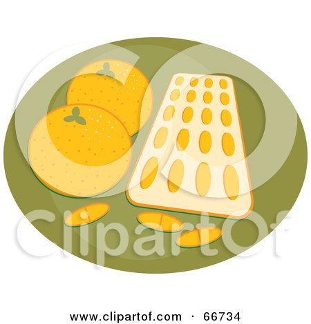 Royalty-Free (RF) Clipart Illustration of a Tray Of Orange Flavored Vitamins With Oranges On Green by Prawny