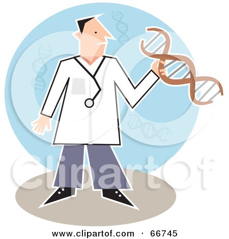 Royalty-Free (RF) Clipart Illustration of a Male Doctor Holding DNA by Prawny