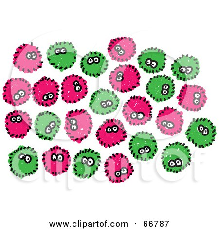 Rf clipart illustration of a crowd of green and pink germs by prawny