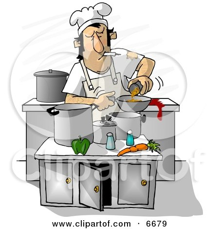 Dirty Chef Smoking While Cooking In A Kitchen Clipart Illustration