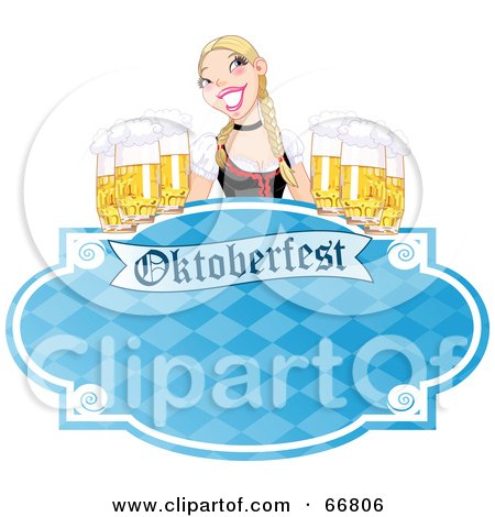 Royalty-Free (RF) Clipart Illustration of a Blue Oktoberfest Sign With A Blond Woman Serving Frothy Beers by Pushkin
