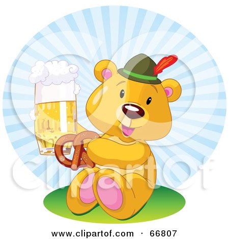 Royalty-Free (RF) Clipart Illustration of an Oktoberfest Teddy Bear Eating A Pretzel And Drinking Beer by Pushkin