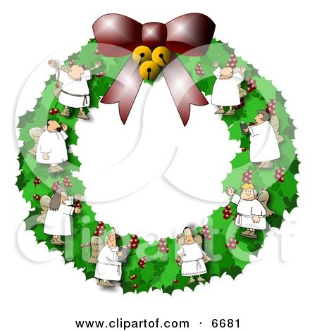 Christmas Wreath With Choir Angels Clipart Illustration by djart