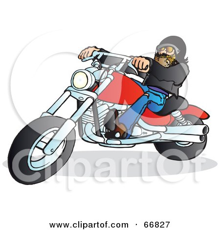 Royalty-Free (RF) Clipart Illustration of a Leather Clad Biker On A Red Motorcycle by Snowy