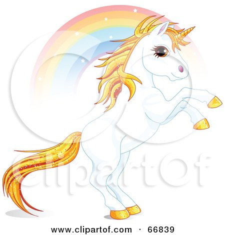 Royalty-Free (RF) Clipart Illustration of a White And Gold Unicorn Raring In Front Of A Rainbow by Pushkin