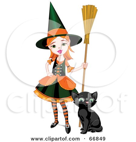 Royalty-Free (RF) Clipart Illustration of a Sassy Little Halloween Witch Girl With A Broom And Kitten by Pushkin