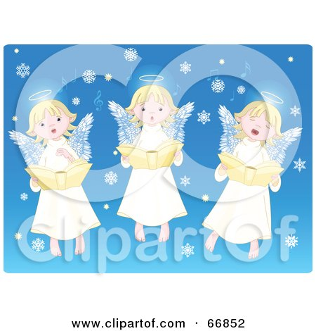Royalty-Free (RF) Clipart Illustration of Three Innocent Singing Angels With Snowflakes On Blue by Pushkin