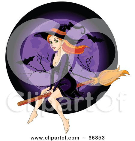 Royalty-Free (RF) Clipart Illustration of a Sexy Redhead Witch Flying In Front Of A Purple Full Moon With Bats by Pushkin