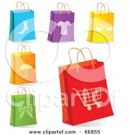 Royalty-Free (RF) Clipart Illustration of a Digital Collage Of Retail Shopping Bags by Pushkin