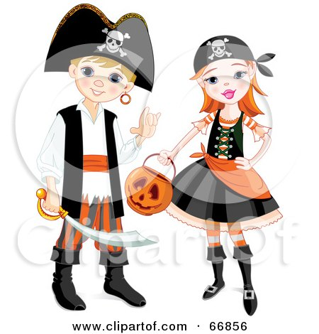 Royalty-Free (RF) Clipart Illustration of a Boy And Girl In Pirate Halloween Costumes by Pushkin