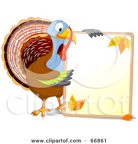 Royalty-Free (RF) Clipart Illustration of a Thanksgiving Turkey Holding A Blank Autumn Sign With Text Space by Pushkin