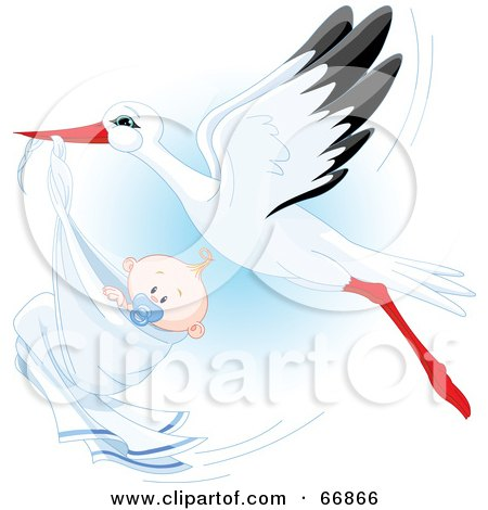 Royalty-Free (RF) Clipart Illustration of a Beautiful Stork Delivery A Baby Boy by Pushkin