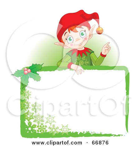 Royalty-Free (RF) Clipart Illustration of a Christmas Elf Standing Behind A Green Blank Sign by Pushkin