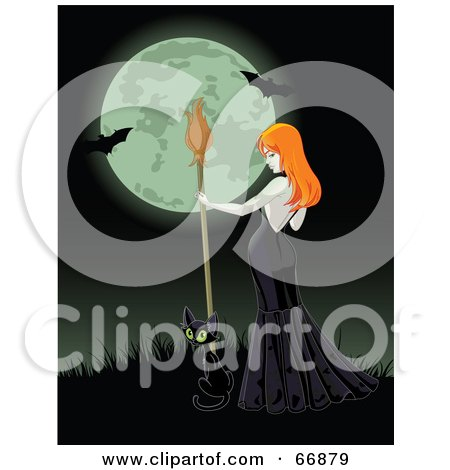 Royalty-Free (RF) Clipart Illustration of a Sexy Halloween Witch And Black Cat On A Grassy Hill Against A Full Moon With Bats by Pushkin