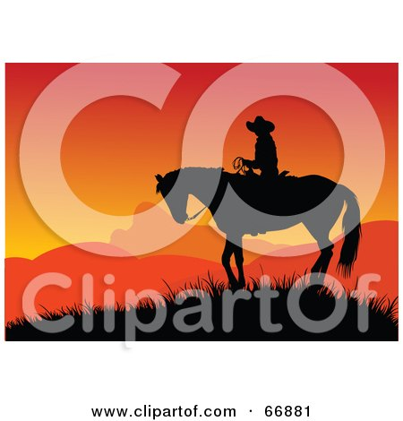 Royalty-Free (RF) Clipart Illustration of a Silhouetted Cowboy On Horseback Against An Orange Sunset by Pushkin