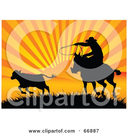 Royalty-Free (RF) Clipart Illustration of a Silhouetted Cowboy Roping A Calf At Sunset by Pushkin