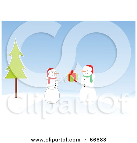 Royalty-Free (RF) Clipart Illustration of a Snowman Giving A Christmas Present To A Friend by Pushkin