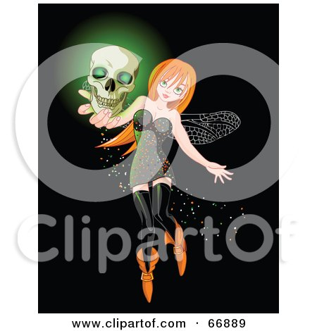Royalty-Free (RF) Clipart Illustration of a Sexy Red Head Halloween Fairy Holding A Glowing Skull by Pushkin