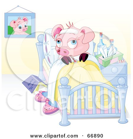 Royalty-Free (RF) Clipart Illustration of a Sick Piggy Resting in Bed by Pushkin