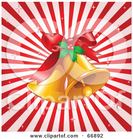 Royalty-Free (RF) Clipart Illustration of a Bursting Red Background With Jingle Bells And Holly by Pushkin