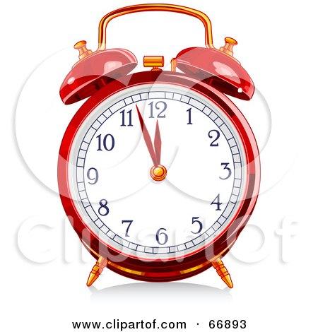 Royalty-Free (RF) Clipart Illustration of a Red Shiny Alarm Clock by Pushkin