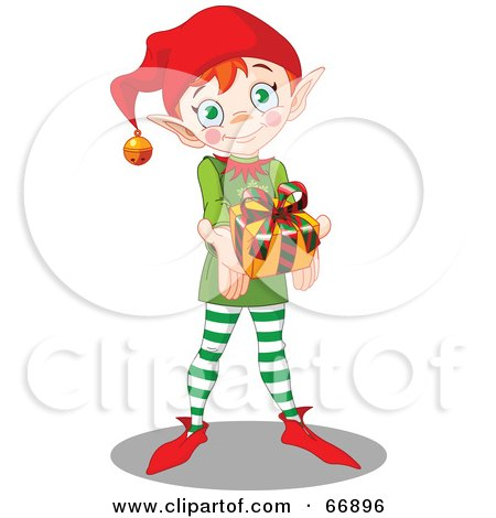 Royalty-Free (RF) Clipart Illustration of a Thoughtful Christmas Elf Holding Out A Present by Pushkin