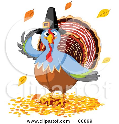 Royalty-Free (RF) Clipart Illustration of a Thanksgiving Turkey Bird Wearing A Pilgrim Hat And Standing In Fall Leaves by Pushkin