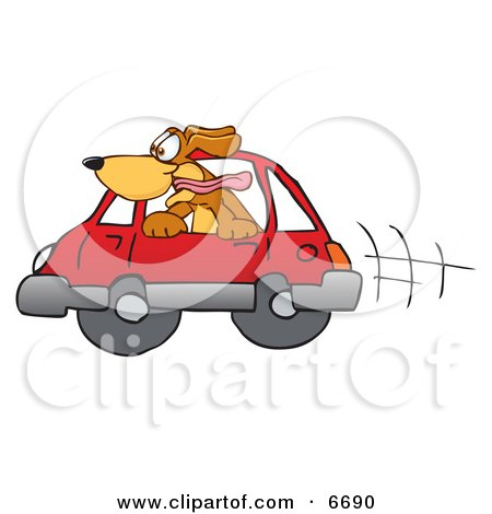 Brown dog mascot cartoon character sticking his head out of a car