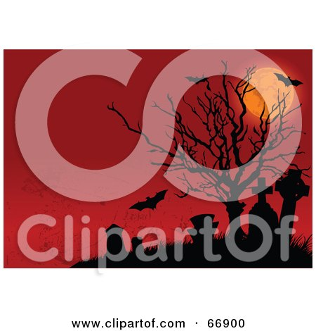 Royalty-free clipart picture of a spooky full moon, dead tree,