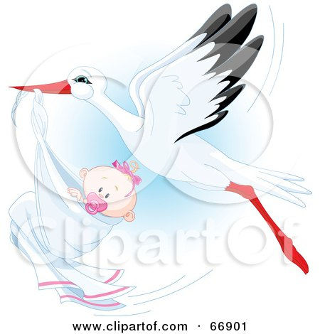 Royalty-Free (RF) Clipart Illustration of a Beautiful Stork Delivery A Baby Girl by Pushkin