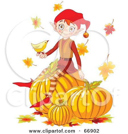 Royalty-Free (RF) Clipart Illustration of a Thanksgiving Elf Sitting On Top Of Pumpkins, A Bird In Hand by Pushkin