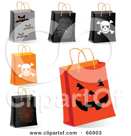 Royalty-Free (RF) Clipart Illustration of a Digital Collage Of Halloween Shopping Bags by Pushkin
