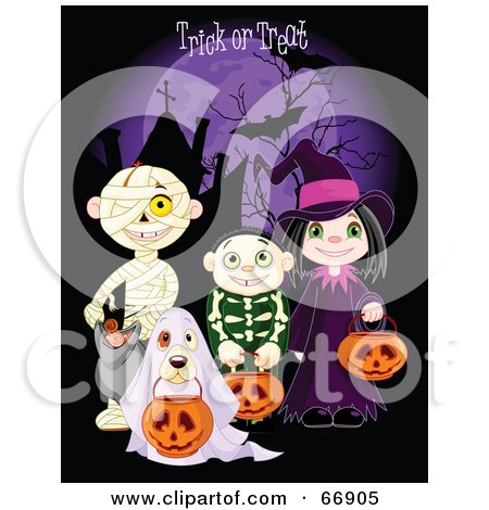 Royalty Free RF Clipart Illustration Of Children And A Dog Trick Or Treating In Mummy Skeleton Ghost And Witch Costumes