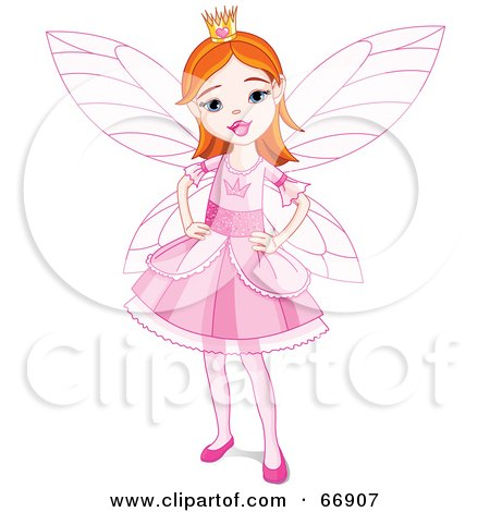 Pretty Red Haired Fairy Princess Girl In A Pink Dress Posters, Art Prints
