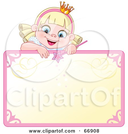 Blond Fairy Princess Peeking Over A Blank Sign Posters, Art Prints