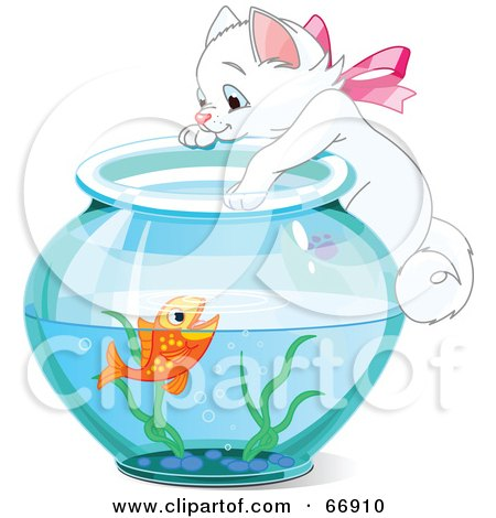 Royalty-Free (RF) Clipart Illustration of a White Kitten Hanging On And Reaching Into A Goldfish Bowl by Pushkin