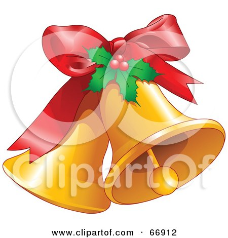 Royalty-Free (RF) Clipart Illustration of Two Ringing Christmas Bells With A Red Bow And Holly by Pushkin