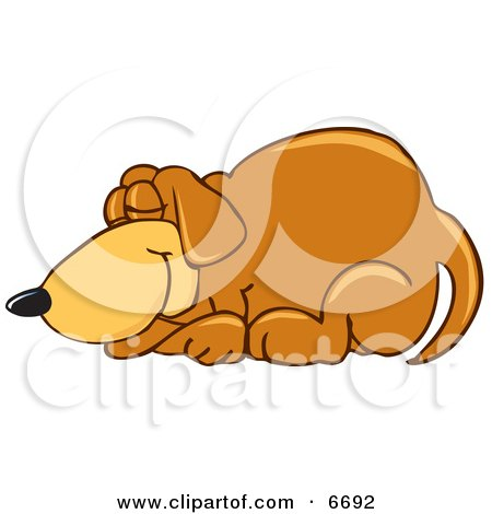 Brown Dog Mascot Cartoon Character Curled up and Sleeping Clipart Picture by Toons4Biz