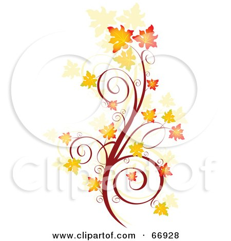 Royalty-Free (RF) Clipart Illustration of an Autumn Floral Scroll With Orange Fall Leaves by Pushkin
