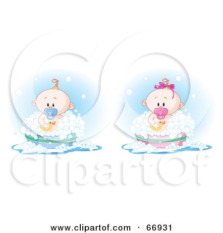 Royalty-Free (RF) Clipart Illustration of a Digital Collage Of A Baby Boy And Girl Taking A Bubble Bath by Pushkin