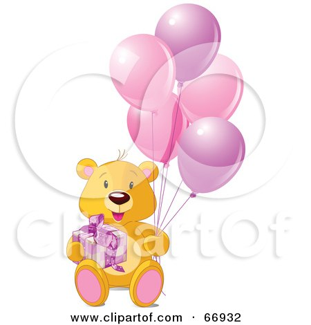 Royalty-Free (RF) Clipart Illustration of a Teddy Bear With A Gift And Pink Balloons by Pushkin