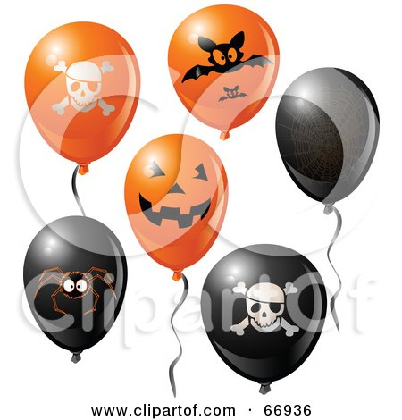 Royalty-Free (RF) Clipart Illustration of a Digital Collage Of Halloween Party Balloons by Pushkin