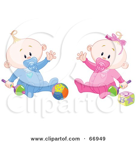 Royalty-Free (RF) Clipart Illustration of a Baby Boy And Girl Waving And Playing With Toys by Pushkin