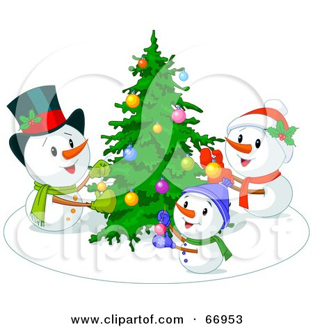 Royalty-Free (RF) Clipart Illustration of a Snowman Family Decorating Their Christmas Tree by Pushkin