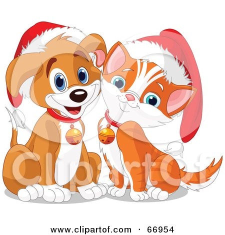 Cute Puppy And Kitten Wearing Santa Hats And Bells Posters, Art Prints