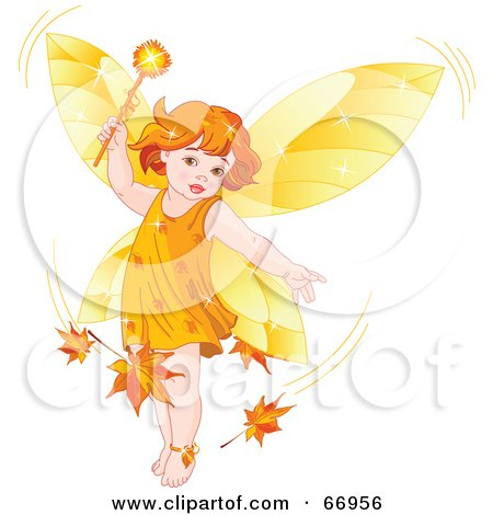 Royalty-Free (RF) Clipart Illustration of an Autumn Fairy Child Stirring Up Leaves In A Breeze by Pushkin