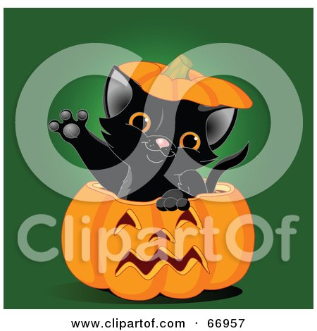 Royalty-Free (RF) Clipart Illustration of a Cute Black Kitten Reaching Its Paw Out Of A Halloween Pumpkin by Pushkin